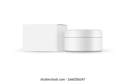 Plastic jar with paper box mockup isolated on white background. Vector illustration