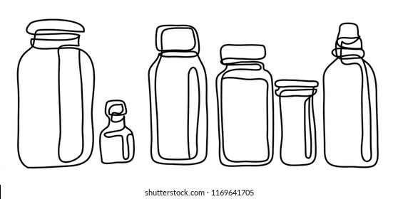 Plastic jar with screw cap, Vector illustration isolated on white background. Continuous line drawing. Vector monochrome, drawing by lines