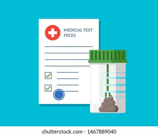 Plastic jar stool feces test analysis and medical form list with results data and approved check mark vector illustration. Clinical checklist document. Insurance or medicine examination concept