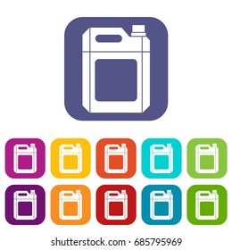 Plastic jerry can icons set vector illustration in flat style in colors red, blue, green, and other