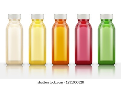 Plastic juice bottles isolated on white background. Vector illustration
