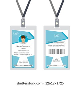 Plastic and Laminated Badge or id card, front and back view,isolated on white background,flat template,vector illustration