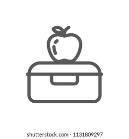 Plastic lunch box with apple for school or work healthy break pixel perfect line icon with editable stroke isolated on white background - outline vector illustration.