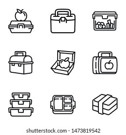 Plastic lunch box icon set. Outline set of 9 plastic lunch box vector icons for web design isolated on white background