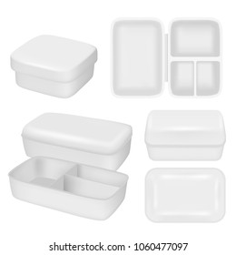 Plastic lunch box mock up set. Vector realistic illustration of white empty plastic container for food isolated on white background.