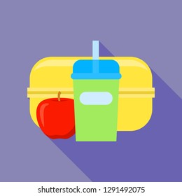 Plastic lunchbox icon. Flat illustration of plastic lunchbox vector icon for web design