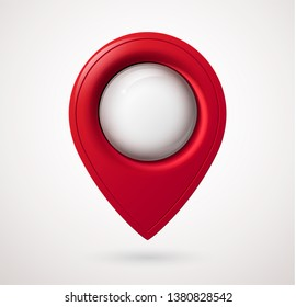 Plastic map location pointer with glowing glass bubble. Navigation icon for web, banner, logo or badge. 3d style. Vector illustration.