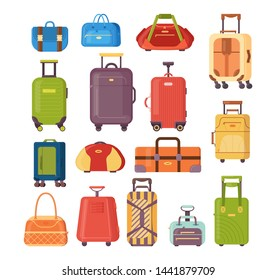 Plastic, metal suitcases, backpacks, bags for luggage. Travel suitcases with wheels, travel bag, business cases, trip baggage, case for journey vacation tourism shopping vector illustration isolated.
