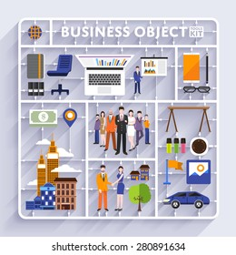 Plastic model kit for concept business and workplace city.Flat design vector illustrate.