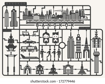 Plastic model kits required set of Bangkok city,  Silhouettes city model kit with sign, Vector illustration