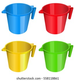 plastic mug jug container red yellow blue green color tumbler volume liter
