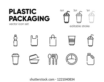 Plastic packaging icon set. Vector illustration. Bottle, bag, plate,container, cup. Outline icons with editable stroke.
