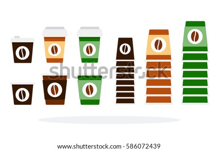 Plastic Paper Cups Large Small Sizes Stock Vector (Royalty