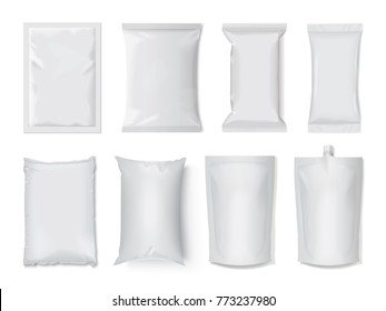 plastic and paper packaging mock up vector template