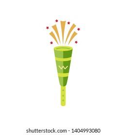 Plastic pipe isolated on white background. Trumpet for holidays and birthday. Brazilian vuvuzela. Flat style design vector illustration.