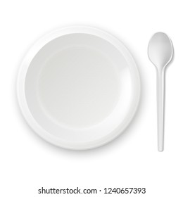 Plastic plate with a spoon