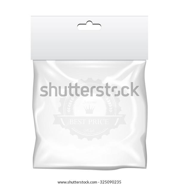 Plastic pocket bag mock up. Transparent template. Vector Illustration.