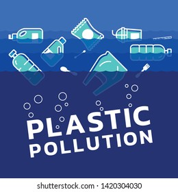 plastic pollution concept with plastics icon in water ocean vector design