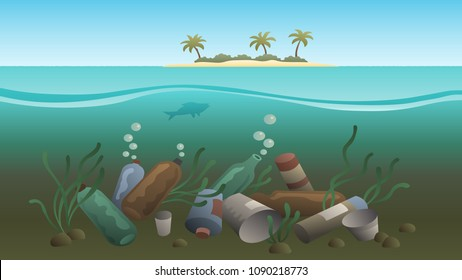 plastic pollution illustration