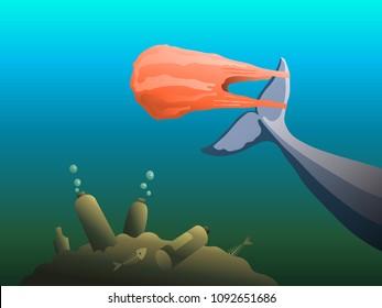 plastic pollution illustration