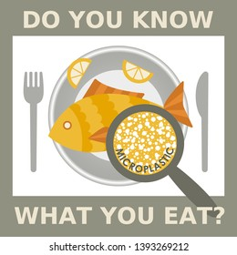 Plastic pollution, microplastic problem. Microplastic in the food. Ecological poster. Fried fish with micro plastic pieces and lemon on a plate. Vector fish dish top view with text.