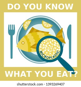 Plastic pollution, microplastic problem. Microplastic in the food. Ecological poster. Fried fish with micro plastic pieces on a plate on yellow background. Vector fish dish top view with text.