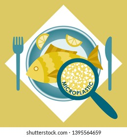 Plastic pollution, microplastic problem Microplastic in the food. Ecological poster. Fried fish with micro plastic pieces on a plate on yellow background. Vector fish dish top view.