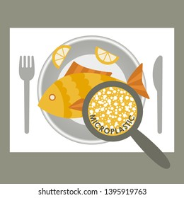 Plastic pollution, microplastic problem. Microplastic in the food. Ecological poster. Fried fish with micro plastic pieces on a plate. Vector fish dish top view