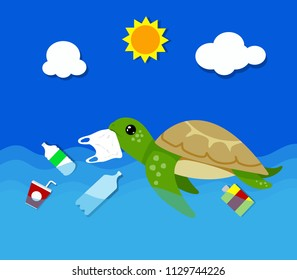 Plastic pollution in ocean environmental problem. Turtles can eat plastic bags mistaking them for jellyfish. vector illustration.