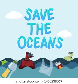 plastic pollution in ocean environmental problem concept. garbage from plastic bag and bottle floating in the ocean, waste water. text save the oceans on top