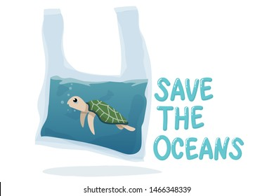 plastic pollution in ocean environmental problem concept.  poor turtle swim inside plastic bag with text save the oceans