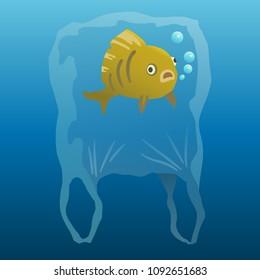 plastic pollution vector illustration