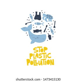 Plastic pollution word concept banner. Environmental problem isolated vector illustrations. Save oceans t shirt print idea. Plastic bottle, trash, swimming fish, whale and turtle clipart