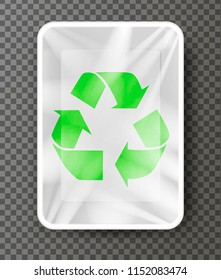 plastic and polyethylene package witn green sign recycle, vector