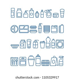 Plastic product package, disposable tableware, food containers, cups and plates line vector icons. Plate and cup, container plastic illustration