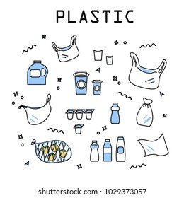 Plastic products set of isolated elements, plastic garbage that is to be recycled