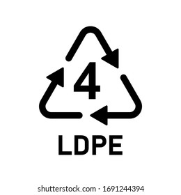 Plastic recycle symbol LDPE 4 vector icon. Plastic recycling code LDPE 4.