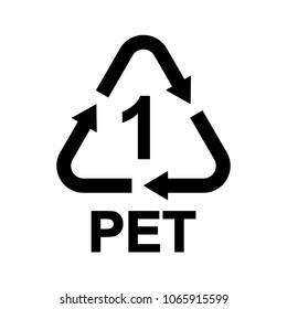 Plastic recycle symbol PET 1, Resin identification code Polyethylene terephthalate, vector illustration