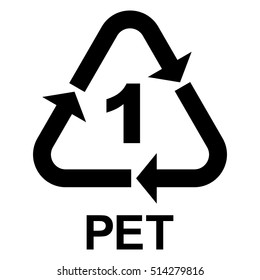 Plastic recycle symbol PET 1, Plastic recycling code PET 1, vector illustration.