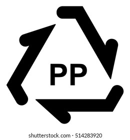 Plastic recycle symbol PP, Plastic recycling code PP, vector illustration.
