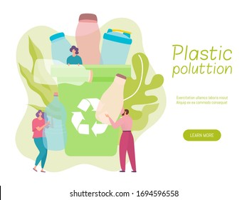 Plastic recycle vector illustration. Cartoon tiny flat woman man volunteer characters throwing used bottle waste into recycling garbage trash bin for reuse, people in protection ecology concept