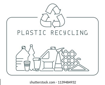 Plastic recycling icons set with trash and lettering. Linear style vector illustration. EPS10