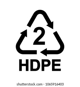Plastic recycling symbol HDPE 2, Resin identification code High-density polyethylene, vector illustration