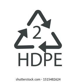 Plastic recycling symbol HDPE 2, recycle arrow triangle isolated icon vector. Symbology two type logo of plastic materials, recycle ecology emblem. Resin identification code, High-density polyethylene