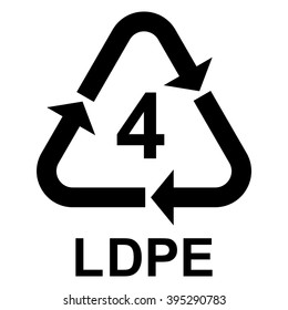 Plastic recycling symbol LDPE 4 , Plastic recycling code LDPE 4 , vector illustration