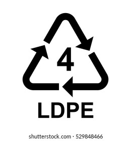 Plastic recycling symbol LDPE 4 , Plastic recycling code LDPE 4 , vector illustration.