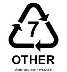 Plastic recycling symbol OTHER 7 , Plastic recycling code OTHER 7 , vector illustration