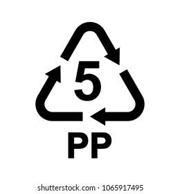 Plastic recycling symbol PP 5, Resin identification code Polypropylene, vector illustration