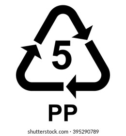 Plastic recycling symbol PP 5 , Plastic recycling code PP 5 , vector illustration