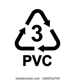 Plastic recycling symbol PVC 3, Resin identification code Polyvinyl chloride, vector illustration
